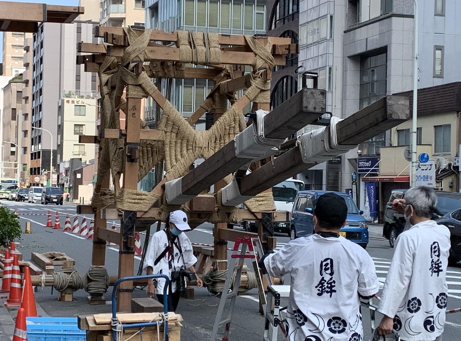 祇園祭、山建て、山鉾、瓢斗、四条烏丸、